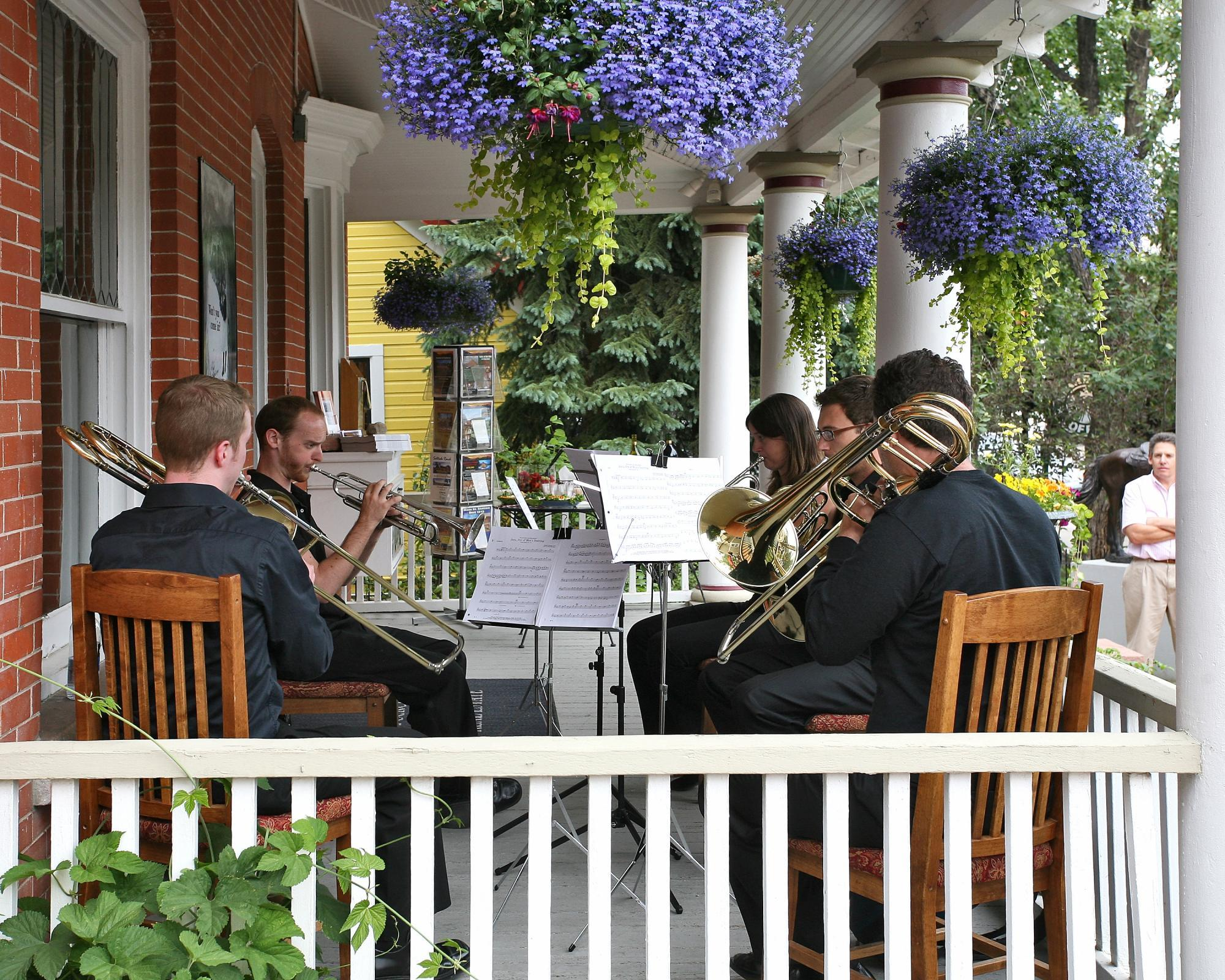 Breck Associates hosts a series of concerts on the porch of their Main Street office