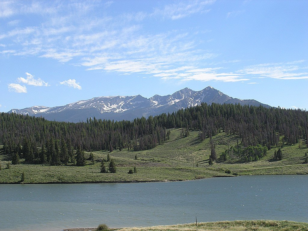view of forest across lake dillon