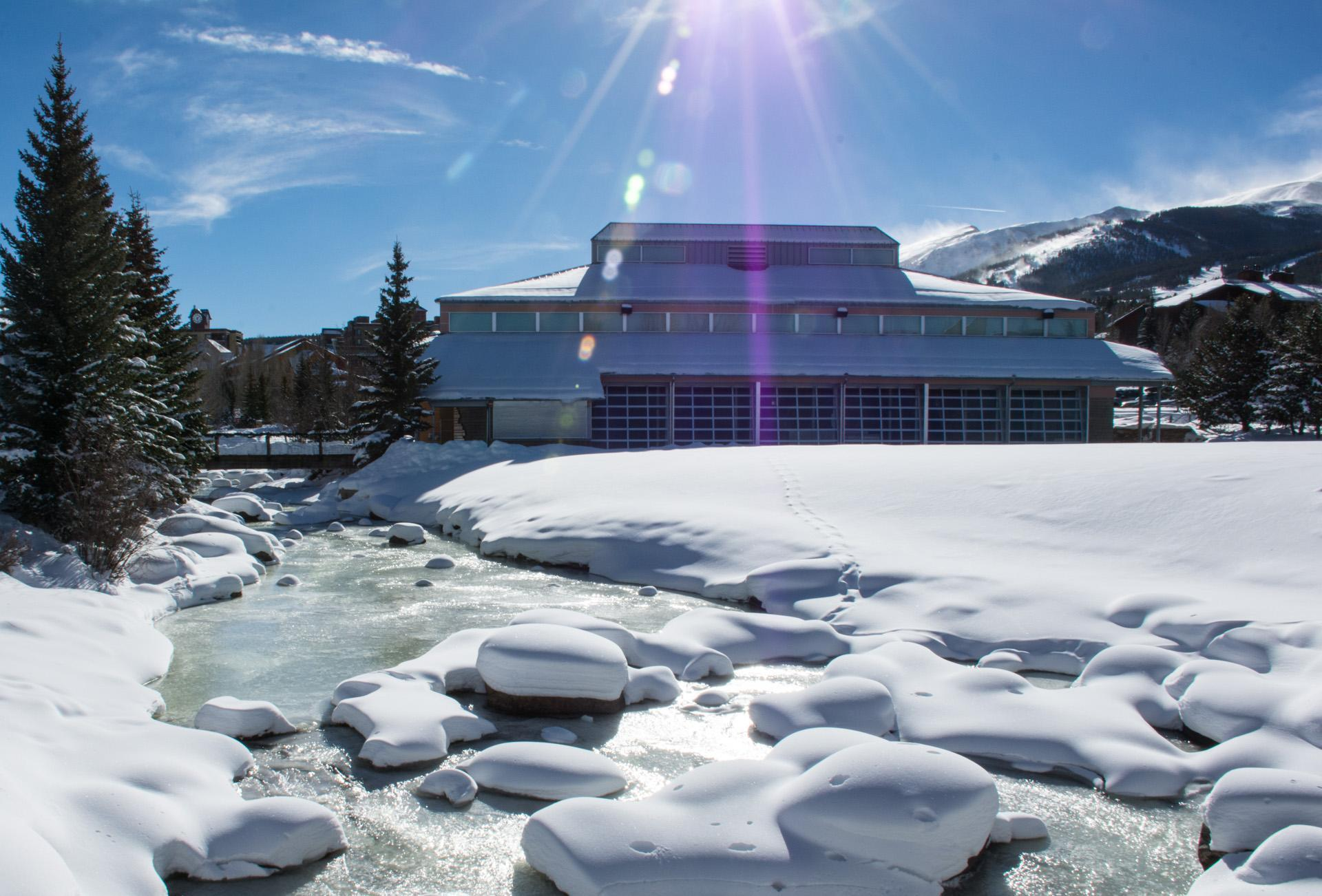Breckenridge Associates Real Estate office on Main Street, Breckenridge, Colorado, near the Riverwalk Center and Blue River pictured here in winter