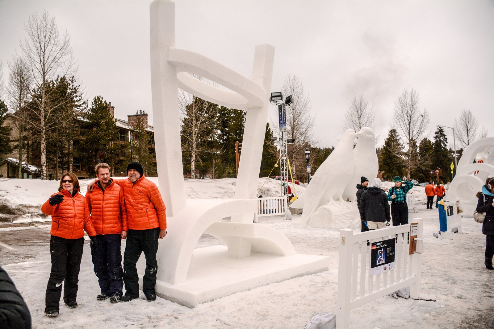Cloudy end of 2015 snow sculpture competition Breckenridge, Colorado