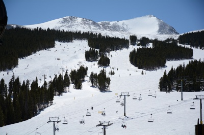 Peak 10 of the Breckenridge ski resort near the Amber Ridge Condos in Warriors Mark