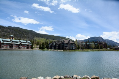 Keystone's Lakeside neighborhood of condos and lodges just across the Snake River from the base of Keystone Mountain.