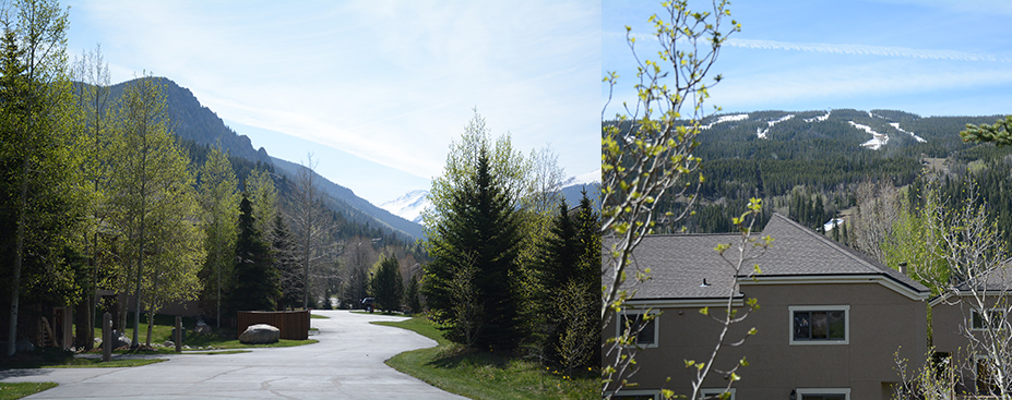 Views from the north side neighborhood at Keystone: to the east of Grays and Torreys and to the ski mountain, Dercum Mountain