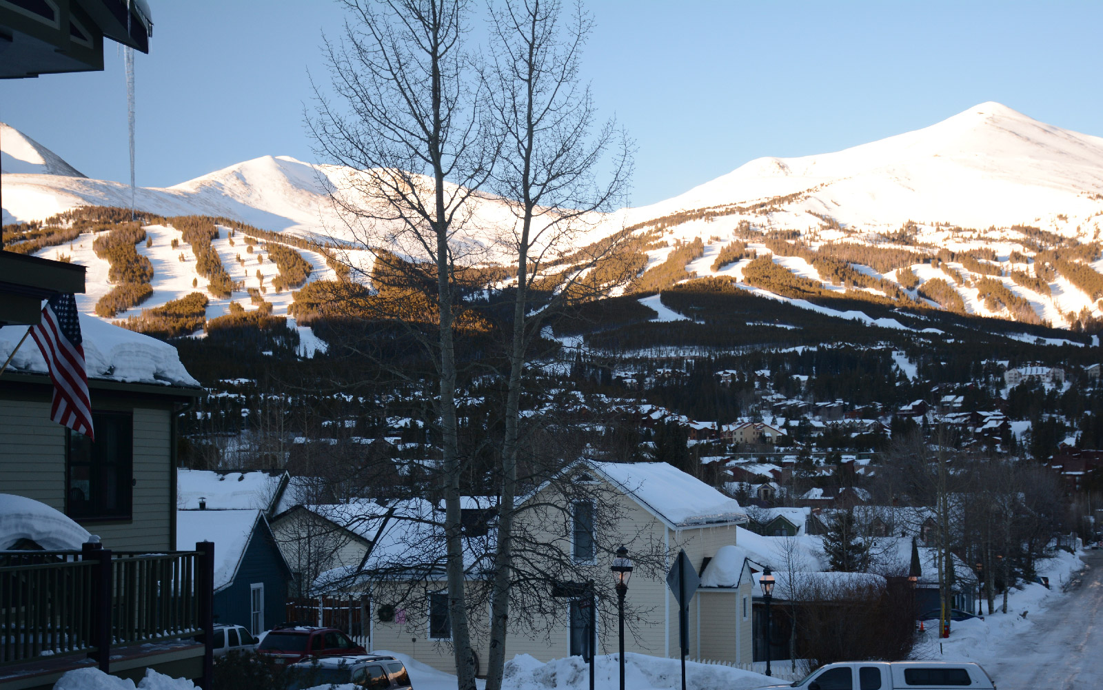 Town of Breckenridge with ski mountain in the background